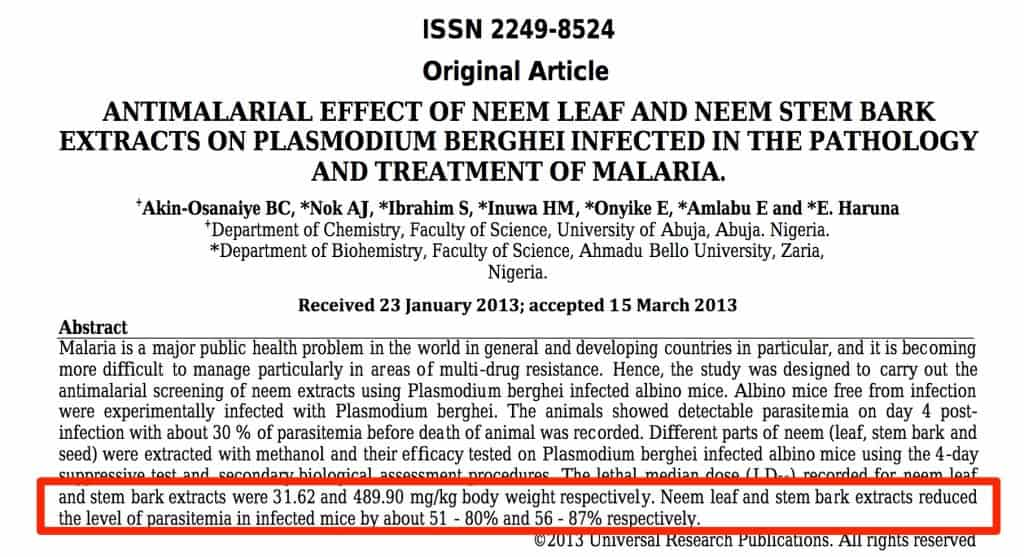 neem oil for malaria